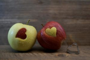 apples with heart cut out