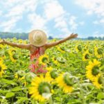 healthy woman in field of sunflowers